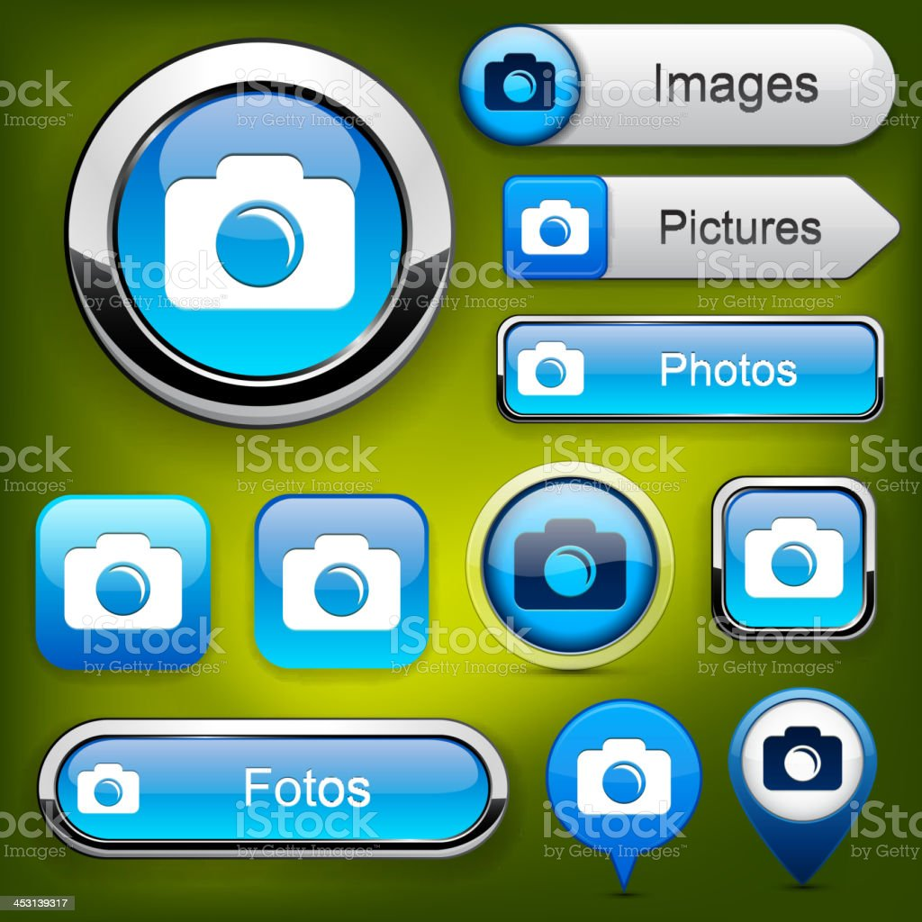 Photo high-detailed web button collection. vector art illustration