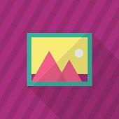 Photo icon , Vector flat long shadow design.