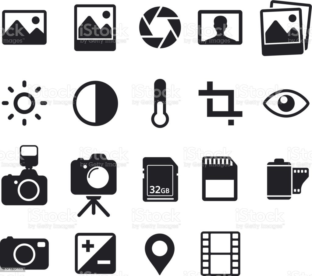 Photo icons vector art illustration