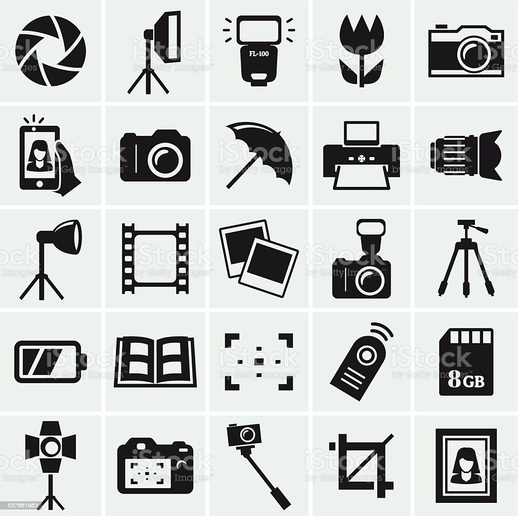 Photo icons. Vector set. vector art illustration