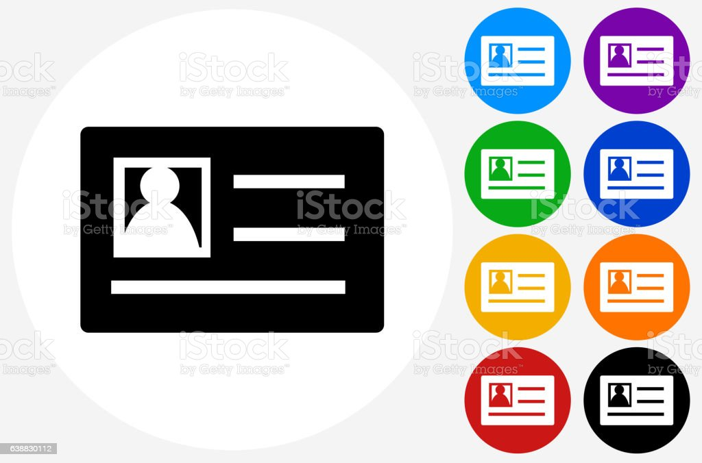 Photo ID Icon on Flat Color Circle Buttons vector art illustration