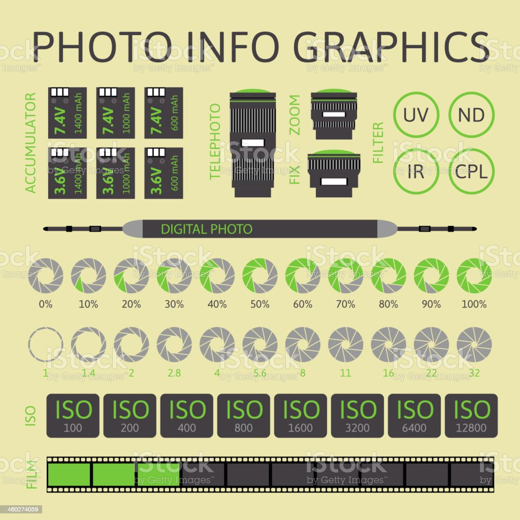 Photo info graphics informational poster vector art illustration