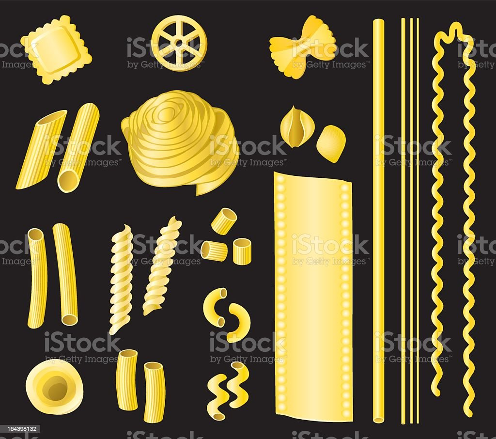 Photo of the different types of uncooked pasta royalty-free stock vector art