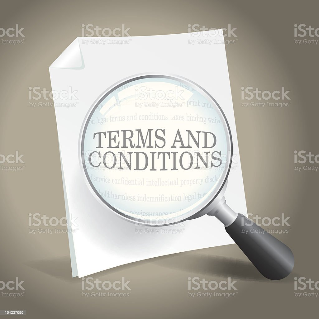 A photo of the terms and conditions with a magnifying glass vector art illustration