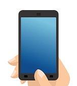 Photo on smartphone. Hand holding screen phone. vector mocap
