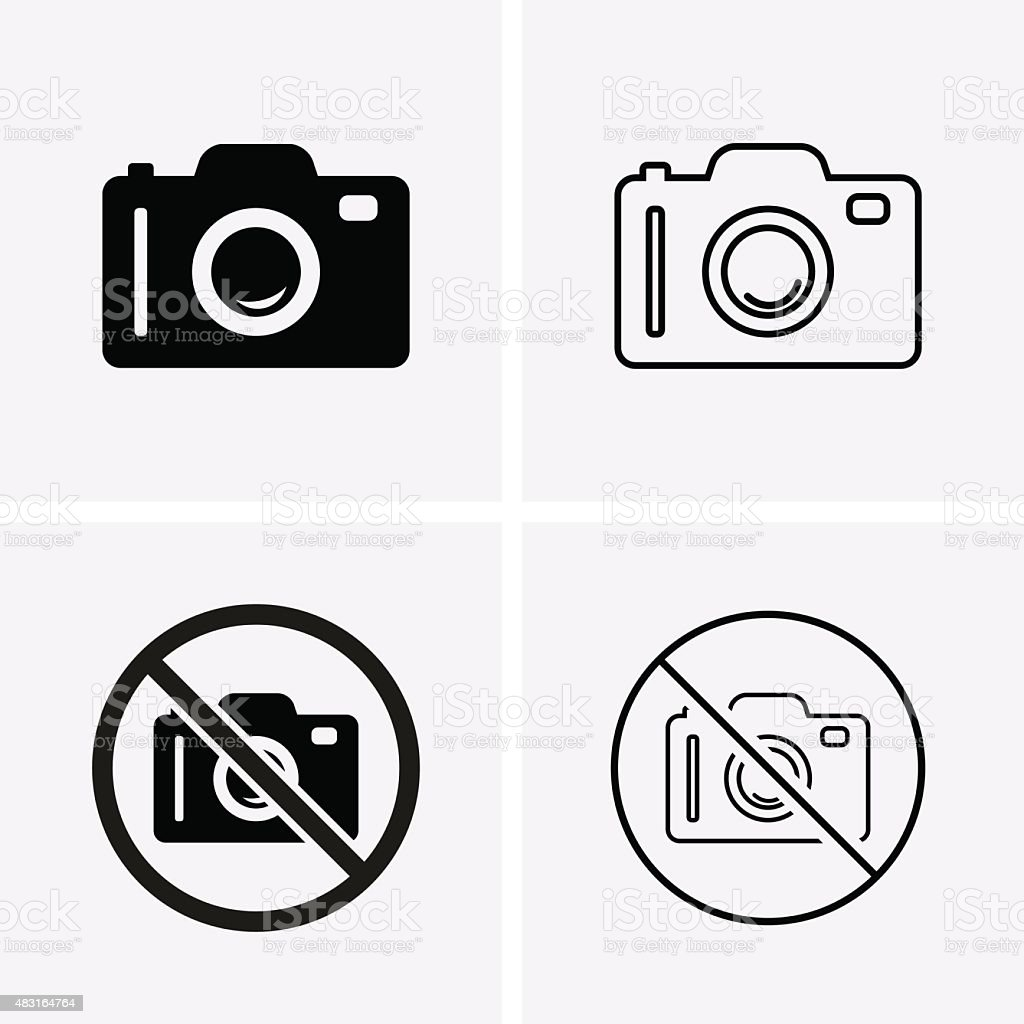 Photo or Camera Icons vector art illustration