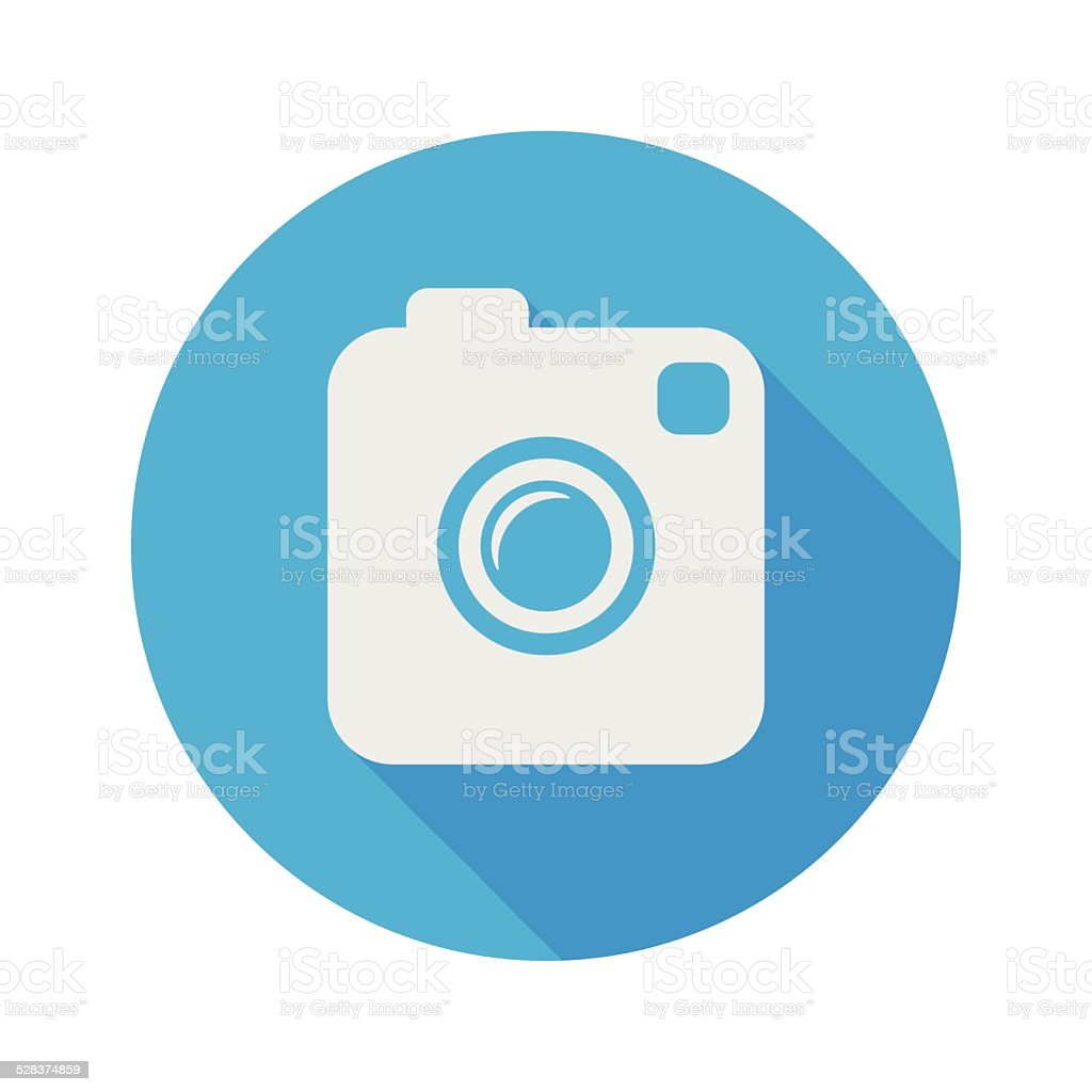 Photo or Video Camera. Flat Style With Long Shadow. Vector vector art illustration