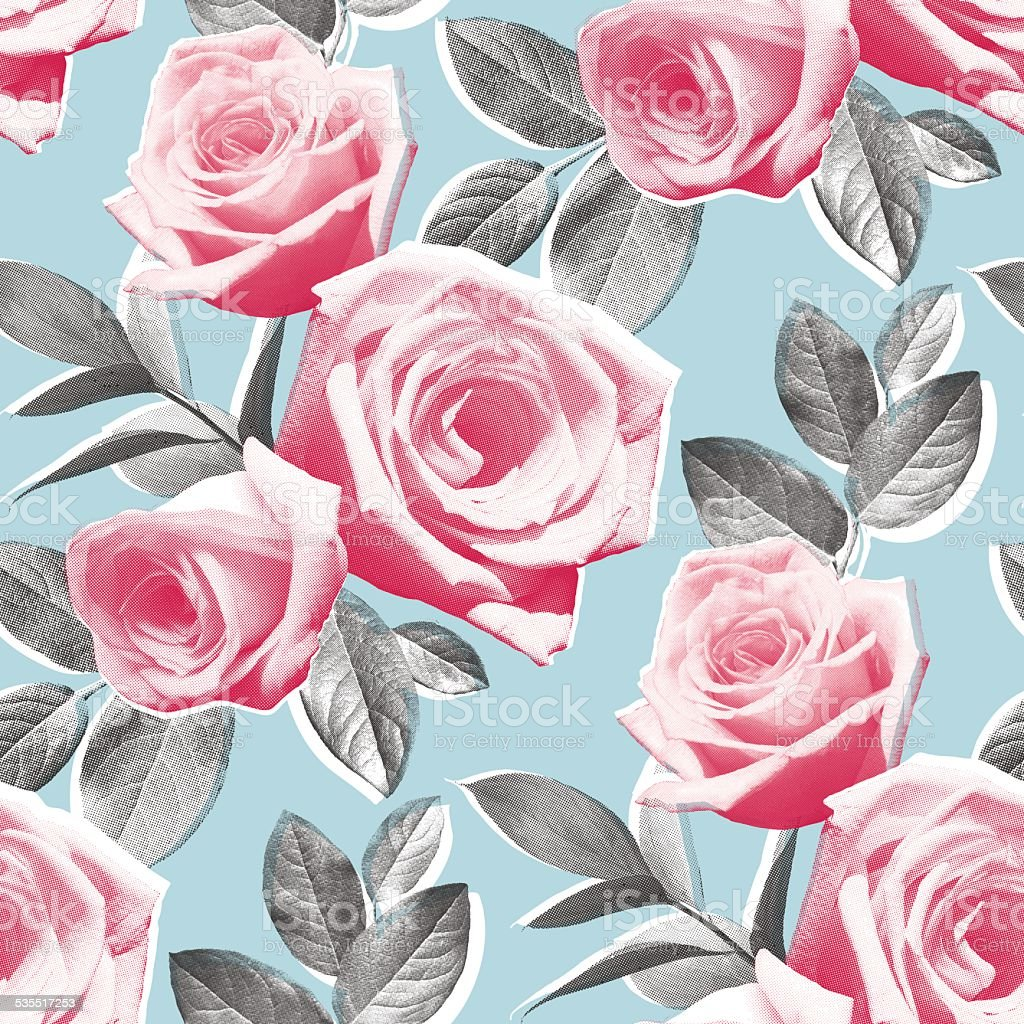 Photo Real Roses Wallpaper Pattern vector art illustration