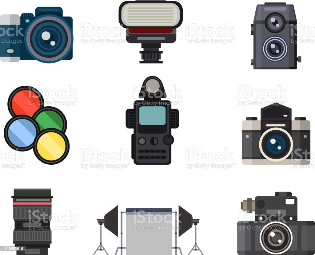 Photo studio icons vector set. vector art illustration