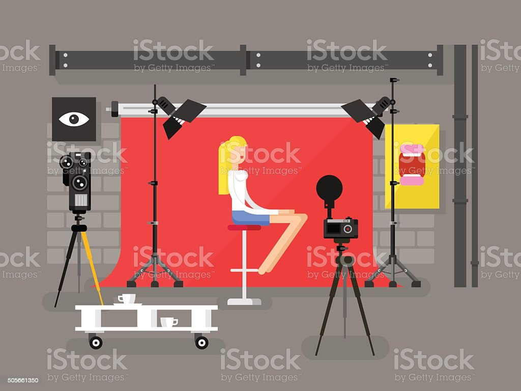 Photo studio interior with model vector art illustration