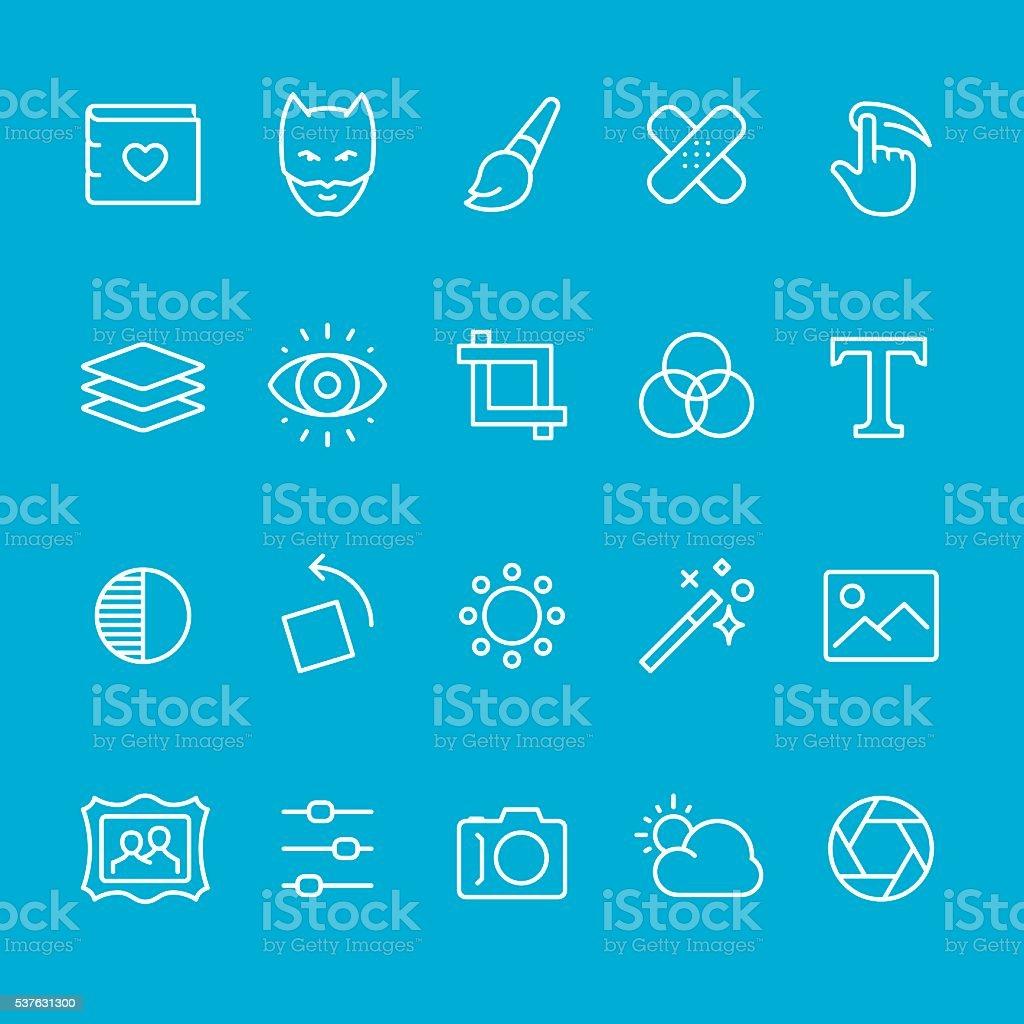 Photo theme outline icons vector art illustration