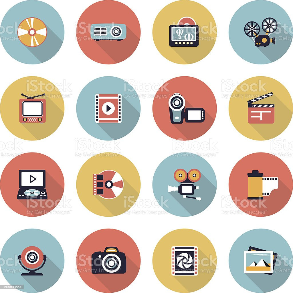 Photo & video modern flat color icons. vector art illustration