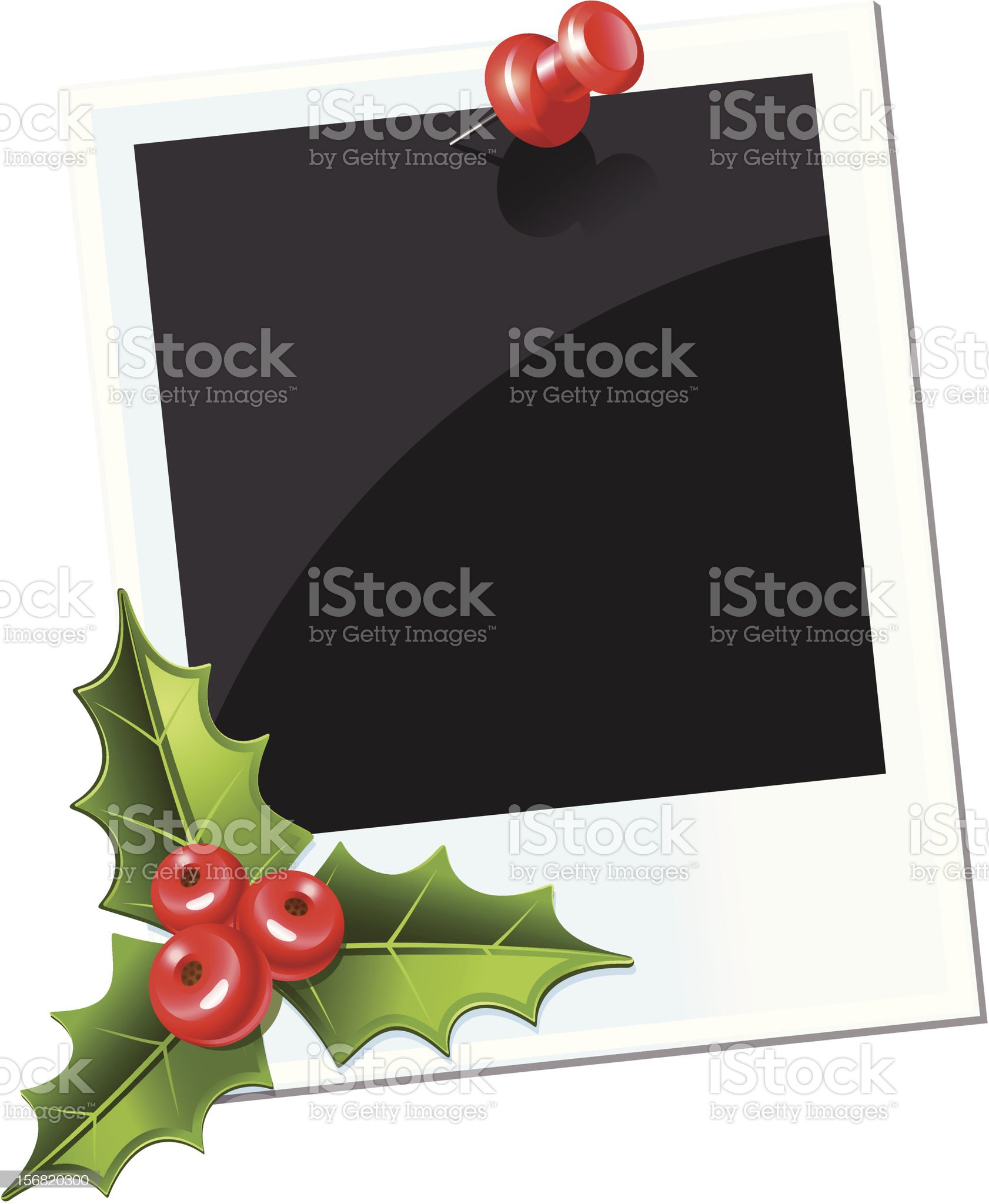 photo with red thumbtack. christmas mistletoe royalty-free stock vector art
