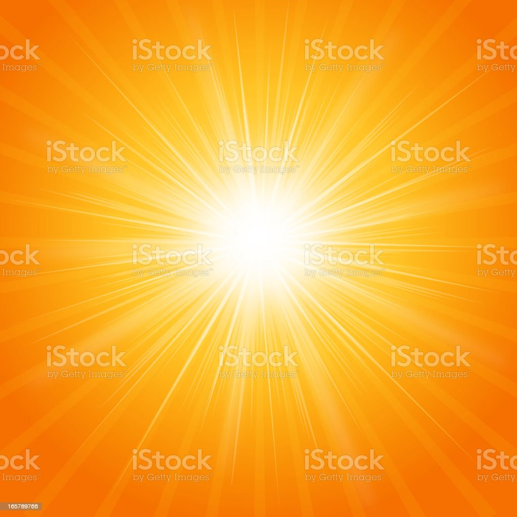 Photograph of a bright summer sun vector art illustration