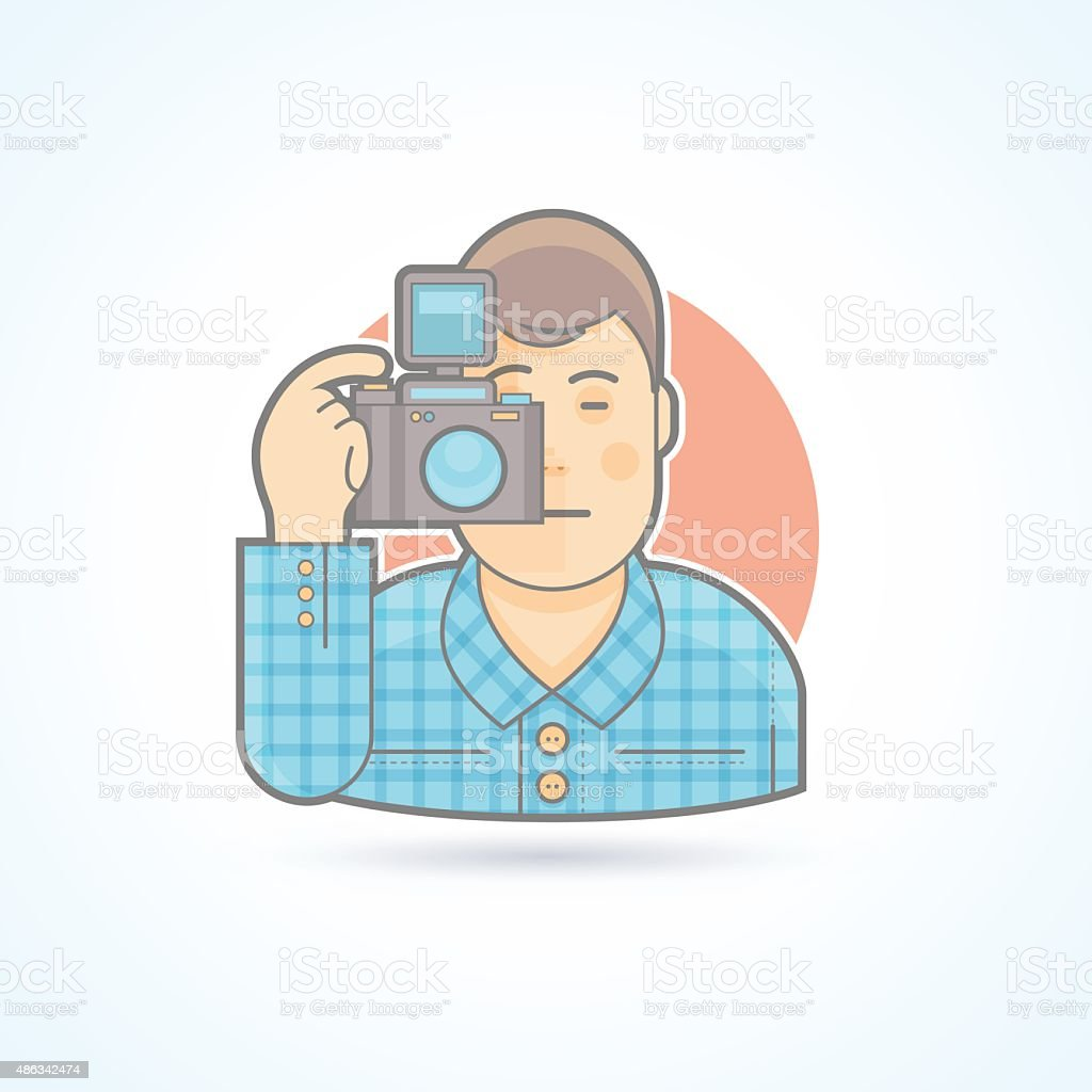 Photographer, camera man icon. Avatar and person illustration. vector art illustration