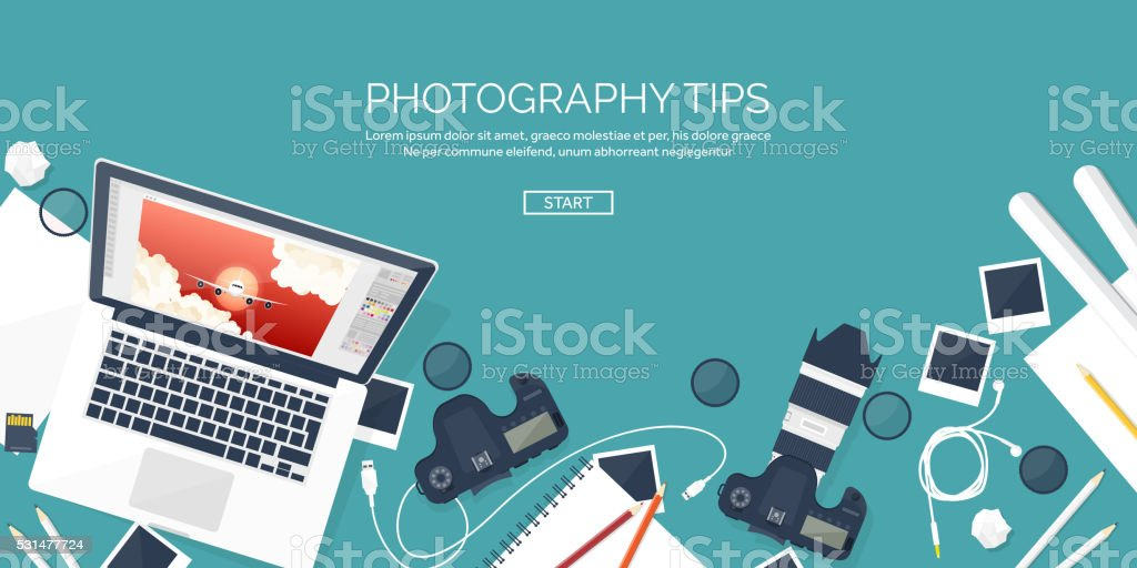 Photographer equipment on a table. Photography tools, photo editing, photoshooting vector art illustration
