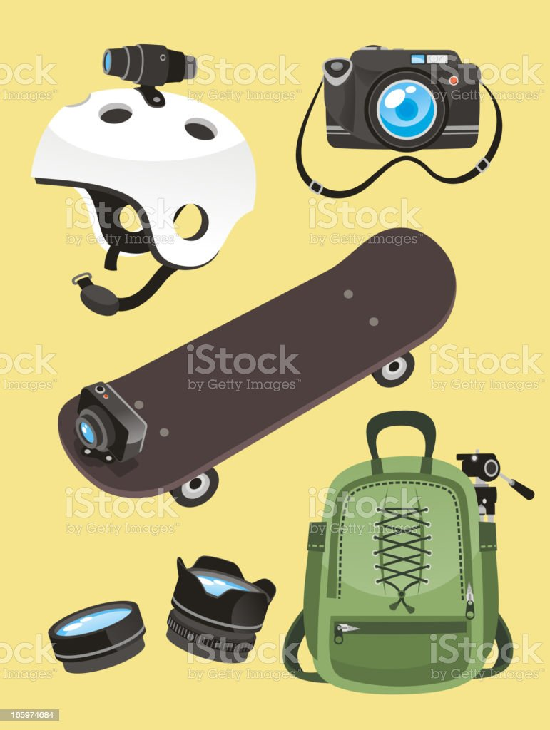 Photographer Equipment set Helmet camera skate go pro lens backpack royalty-free stock vector art