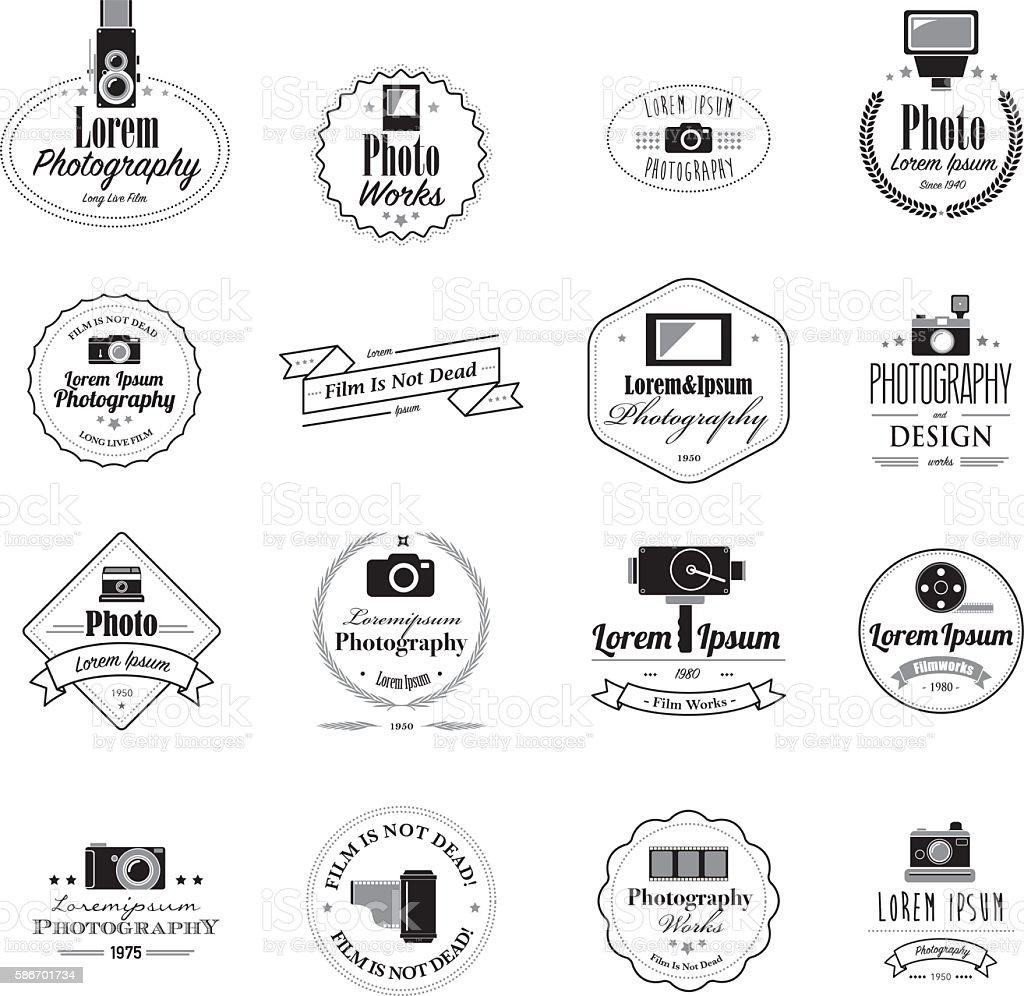 Photographer filmmaker emblems and logos vector art illustration