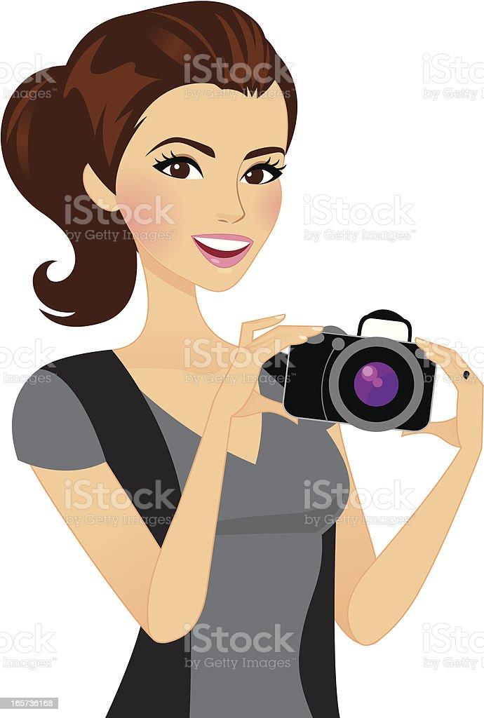 Photographer Girl Holding Camera royalty-free stock vector art