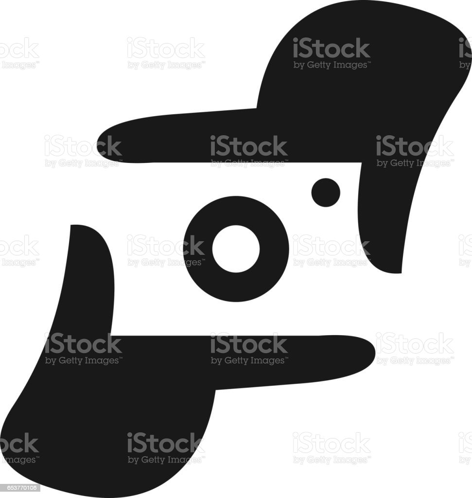 Photographer hand represent camera vector art illustration