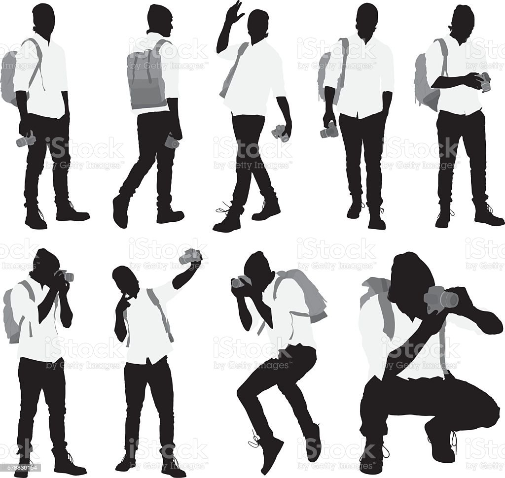 Photographer in various actions vector art illustration