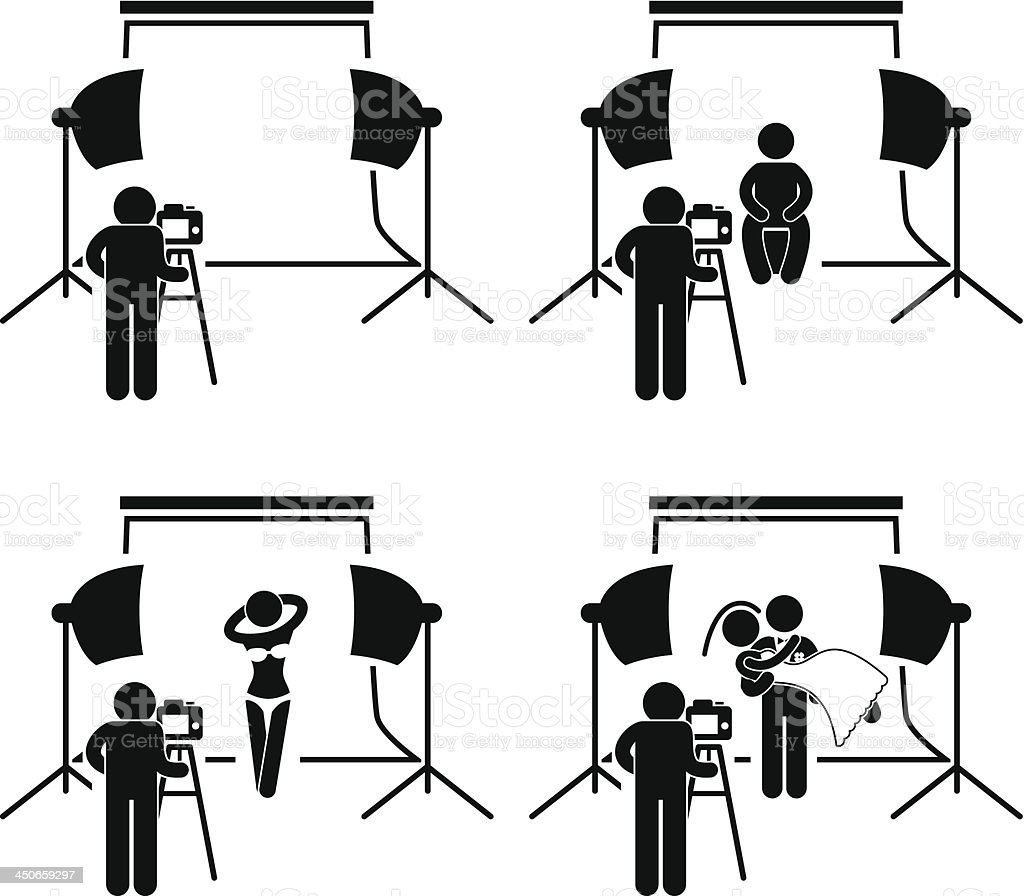 Photographer Studio Photography Stick Figure Pictogram royalty-free stock vector art
