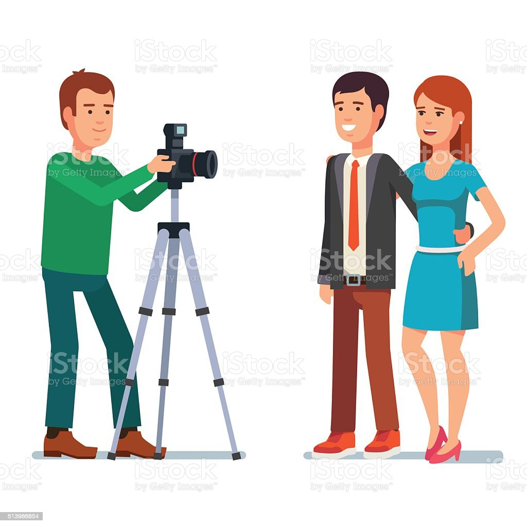 Photographer takes photo of a beautiful couple vector art illustration