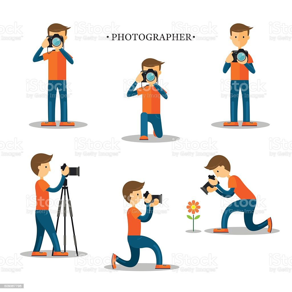 Photographer with Camera in Action Set vector art illustration