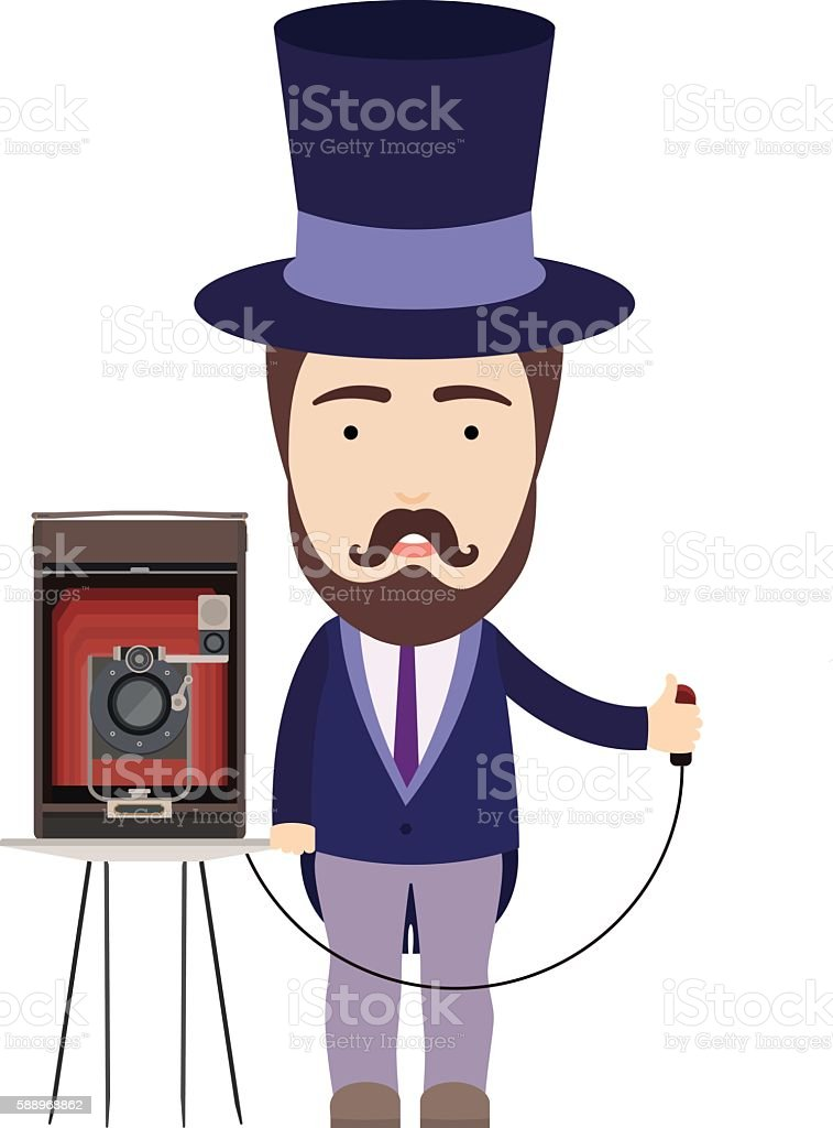 Photographer With Retro Camera vector art illustration