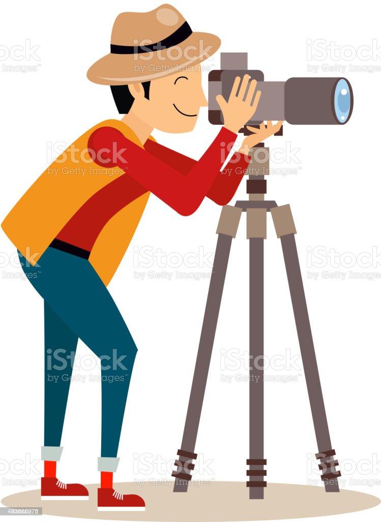 Photographer with Tripod in Flat Style. Vector Illustration vector art illustration