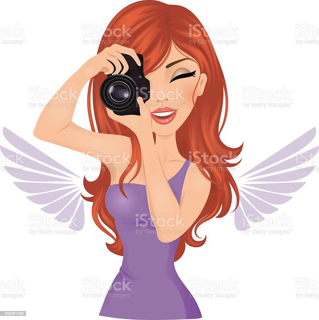Photographer woman. vector art illustration