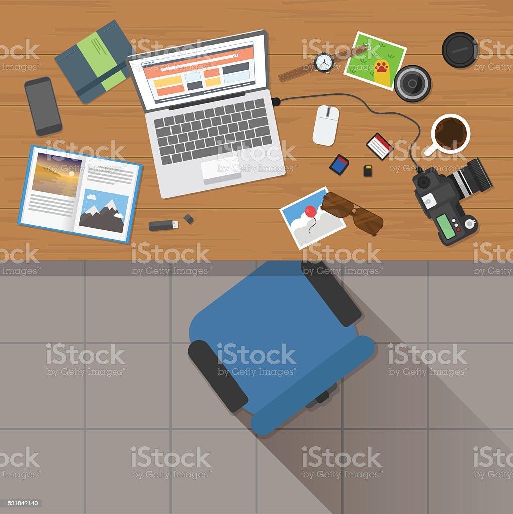 Photographer Workplace vector art illustration