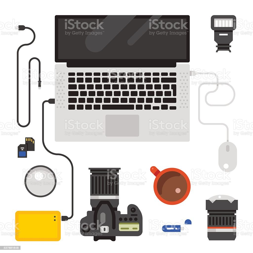 Photographer workspace creative background vector art illustration
