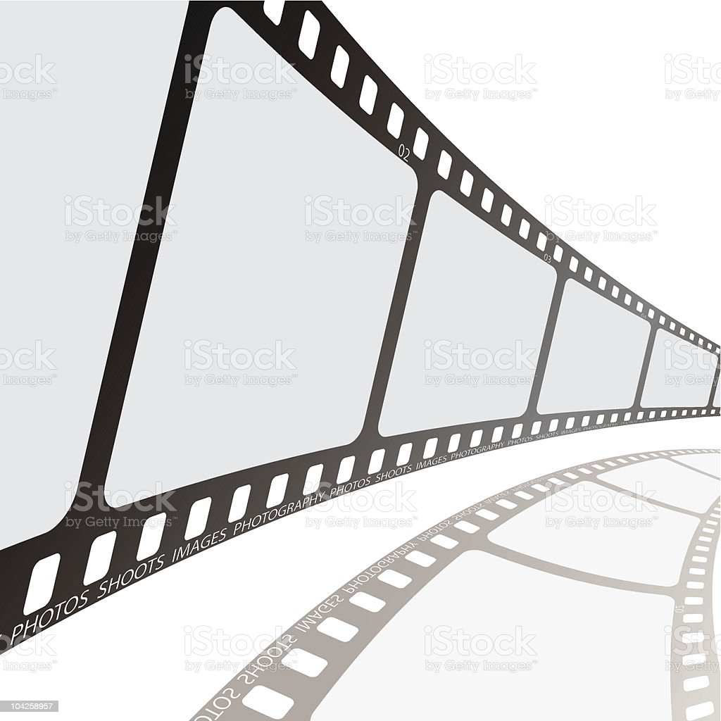 Photographic film with shadow at reel angle royalty-free stock vector art
