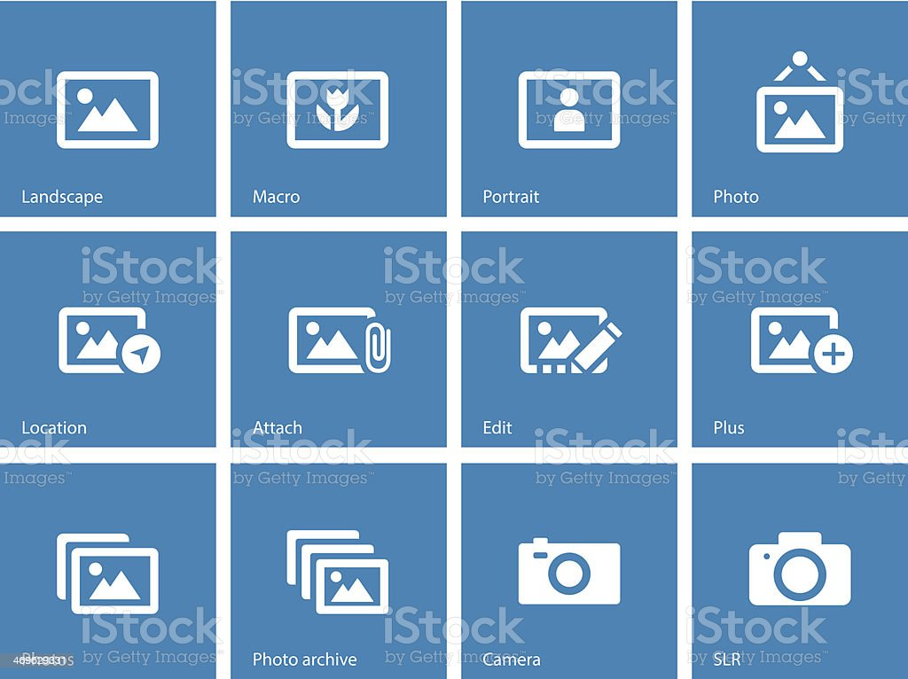 Photographs and Camera icons on blue background. vector art illustration