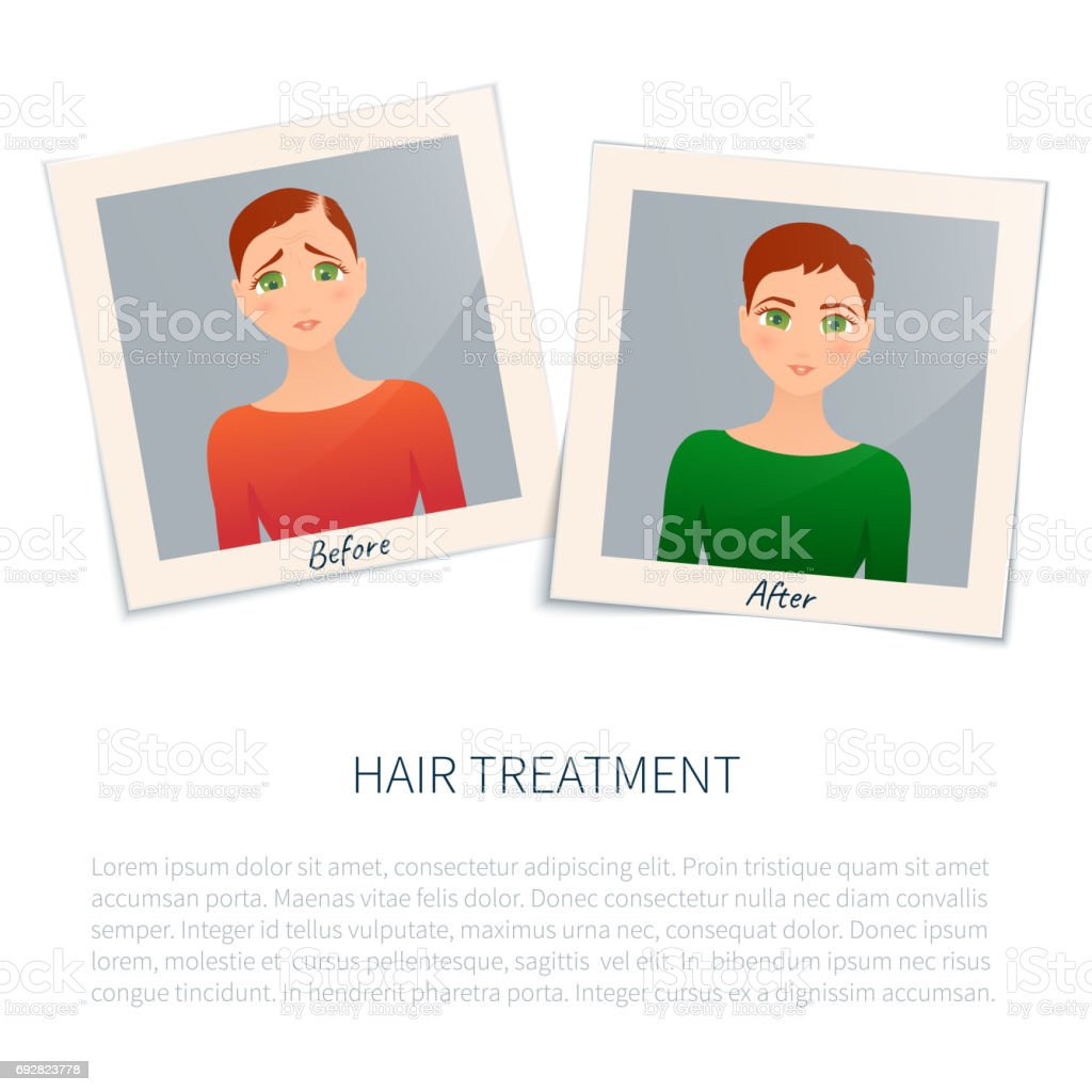 Photographs of a woman before and after hair treatment vector art illustration