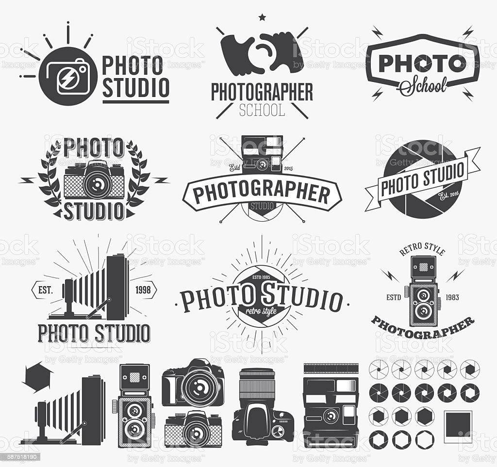 Photography and photo studio logo, Classic camera Labels vector art illustration