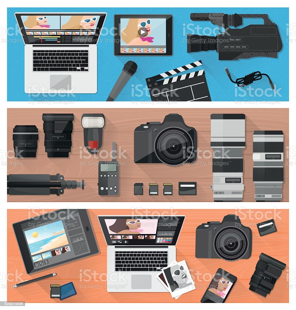 Photography and video making vector art illustration