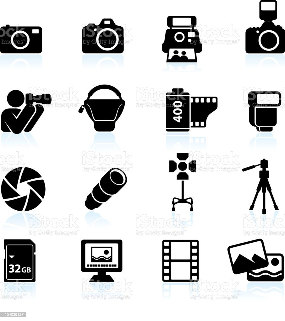 Photography black & white royalty free vector icon set vector art illustration