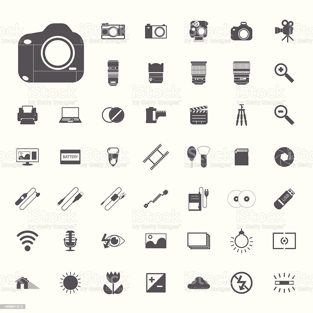 Photography camera icons vector art illustration