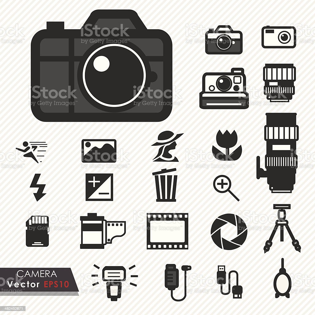 Photography camera lens and accessories set vector icons vector art illustration