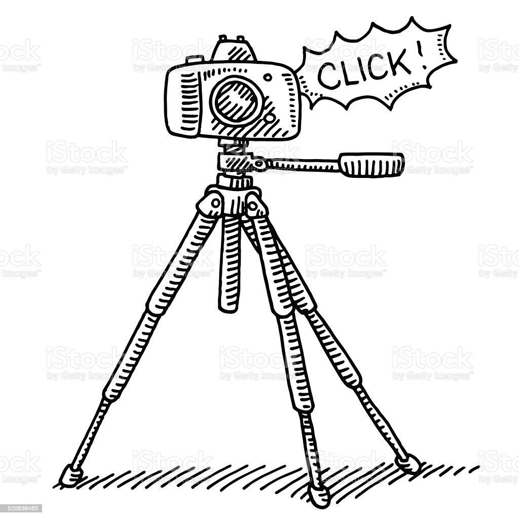 Photography Camera Tripod Click Drawing vector art illustration