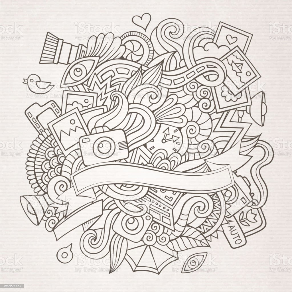 Photography doodles elements sketch background vector art illustration