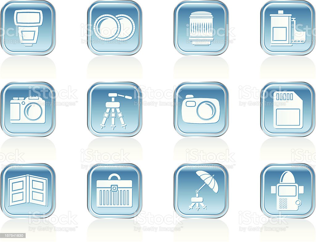 Photography equipment icons royalty-free stock vector art