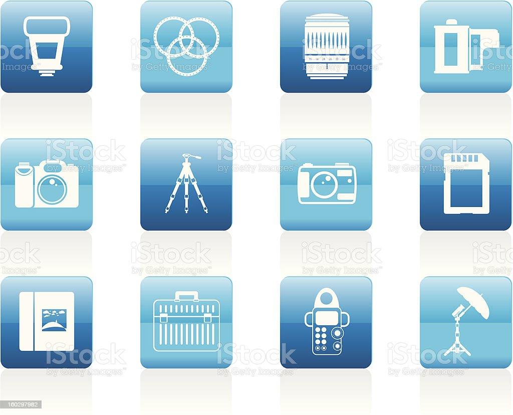 Photography equipment icons stock photo