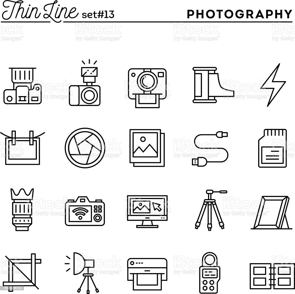 Photography, equipment, post-production, printing and more, thin vector art illustration