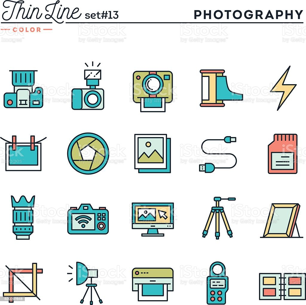 Photography, equipment, post-production, printing and more vector art illustration