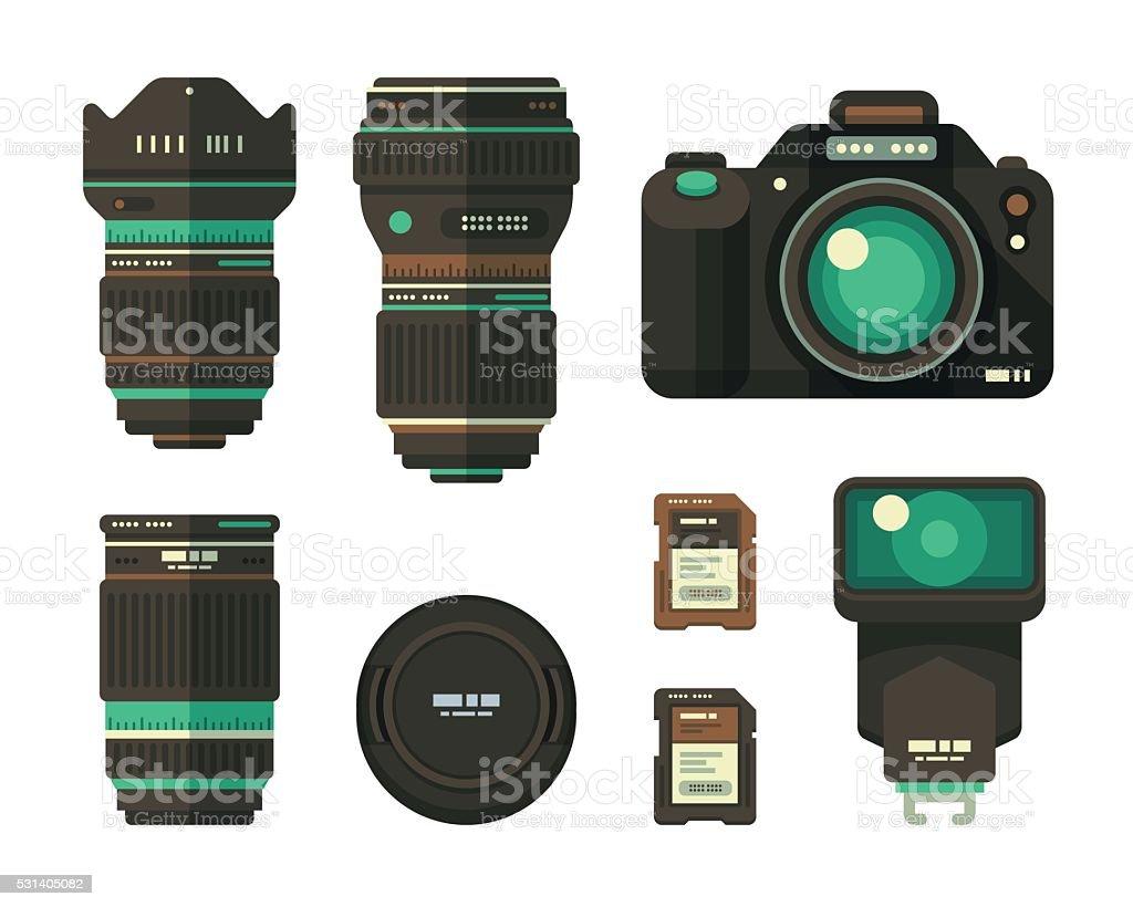 Photography Equipment Set vector art illustration