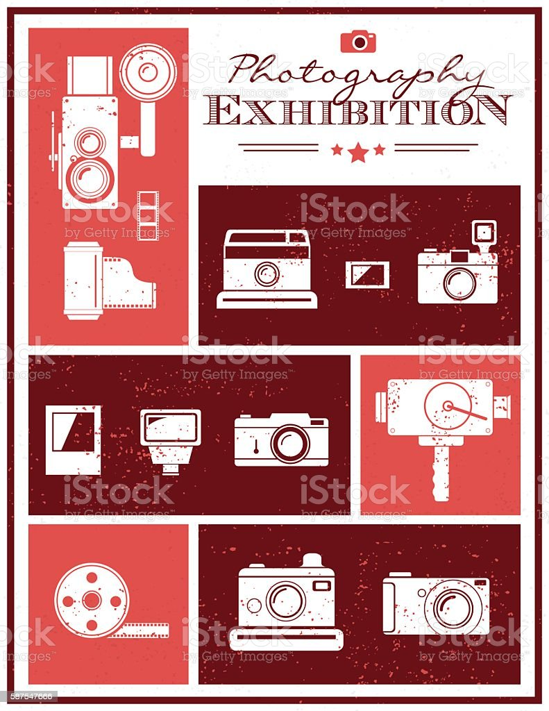 Photography exhibition invitation vector art illustration
