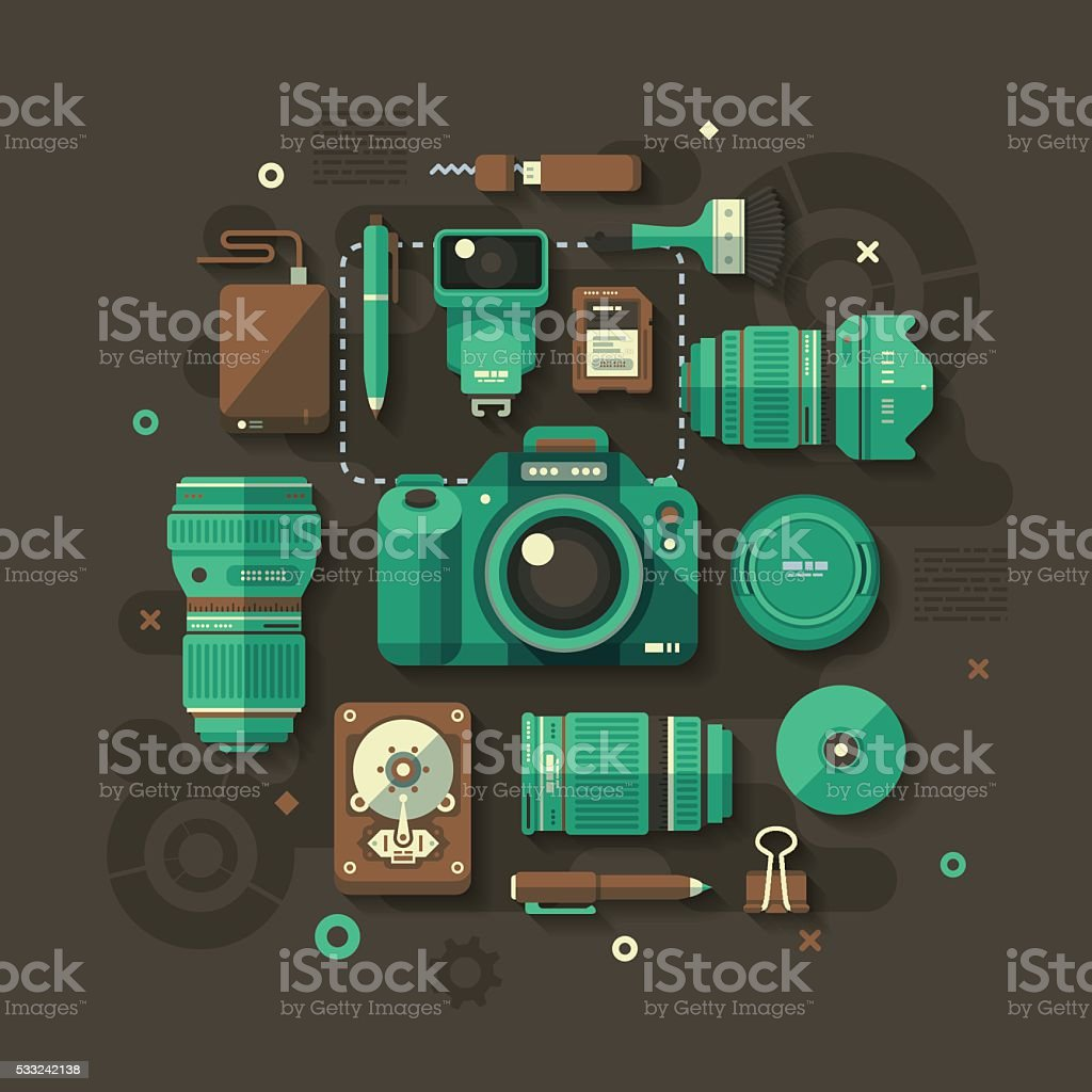 Photography Flat Design Concept vector art illustration